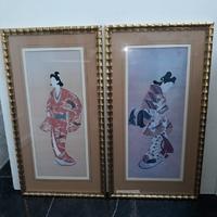 Koppel portretten van een Japanse courtisane