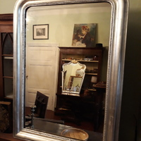 French 19 cent silver plated mirror . 110 cm hi , 80 cm wide .